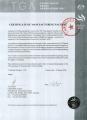 TGA Certificate of Manufacturing Facility (Australia)